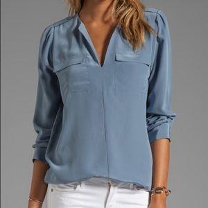 Joie Marlo 100% Silk Blouse Blue Medium